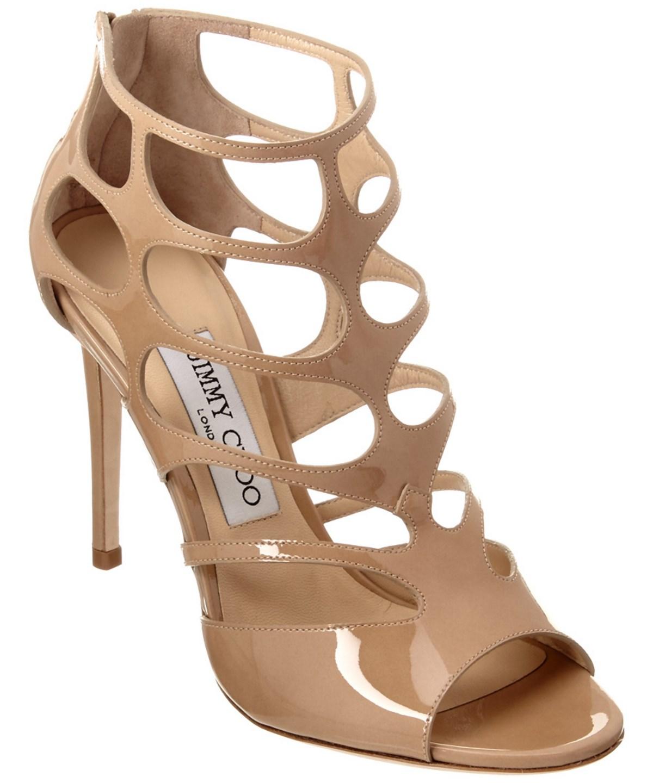 Jimmy Choo Ren 100 Patent Sandal In Nude