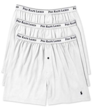 1eb7052dfcdf Polo Ralph Lauren Men's Underwear, Classic Knit Boxer 3 Pack In White