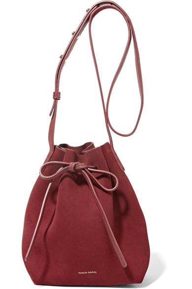 Mansur Gavriel Mini Suede Bucket Bag In Red