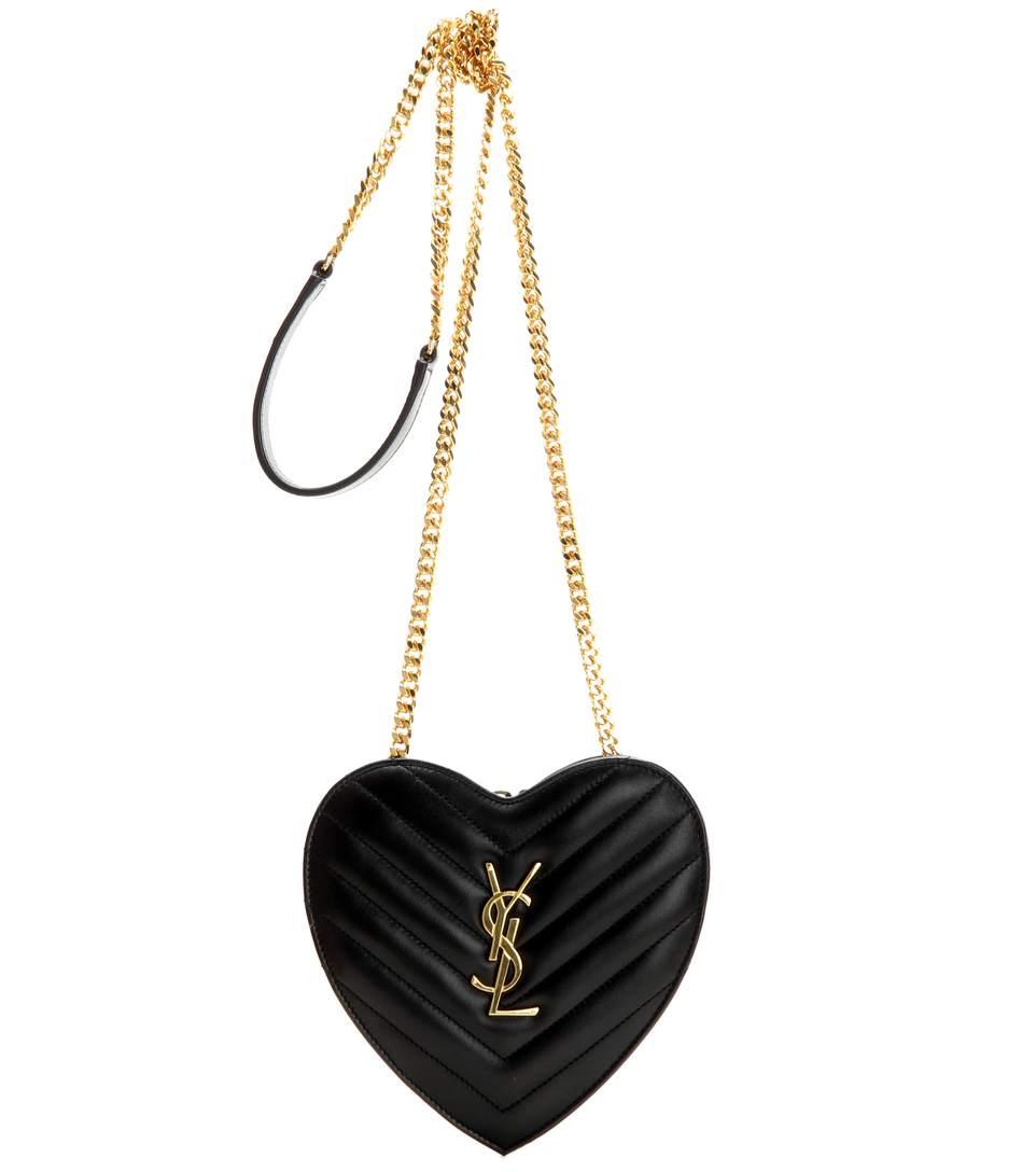 0ab01cc815 Saint Laurent Small Love Heart Chain Bag In Black MatelassÉ Leather ...