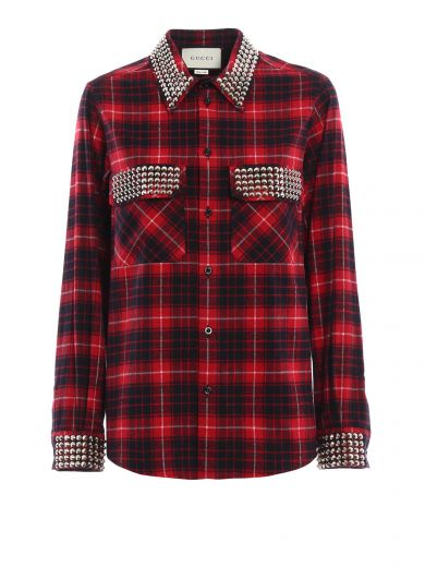1577969a1a Gucci Embellished Plaid Cotton-Flannel Shirt In Red