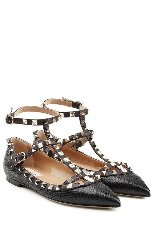Valentino Garavani Rockstud Textured Leather Ballerinas In Black
