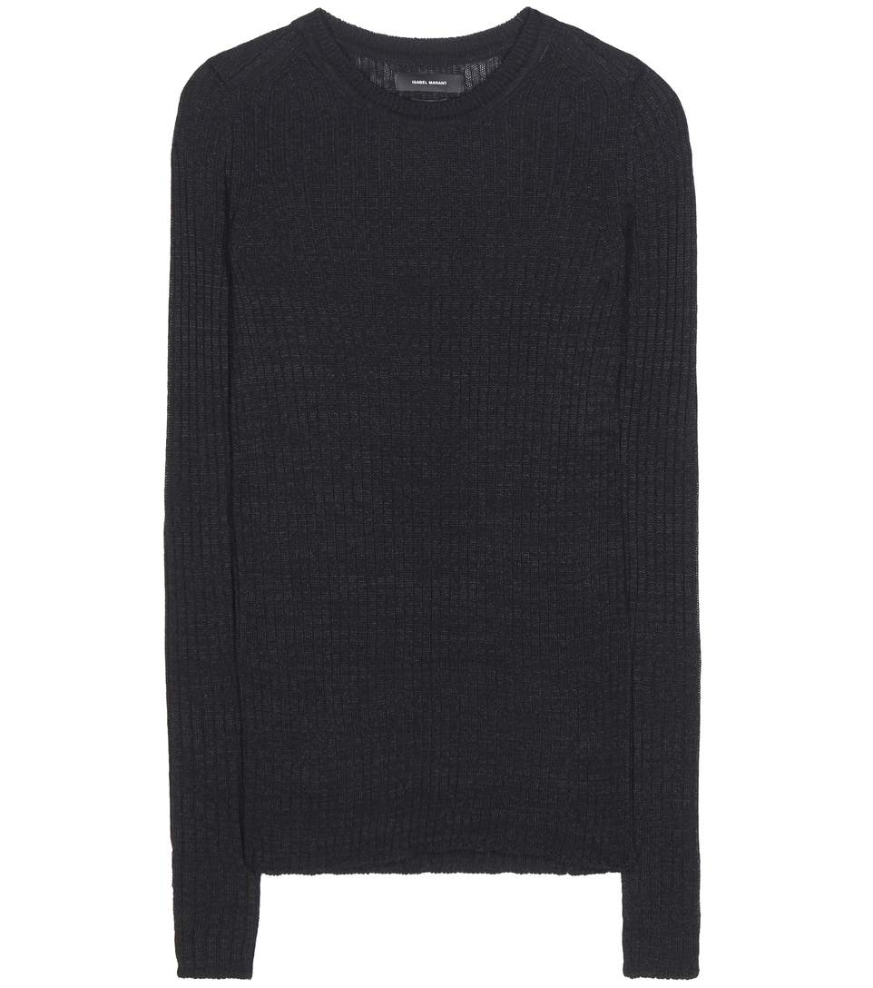 Isabel Marant Dayton Linen And Wool-blend Knitted Sweater In Black