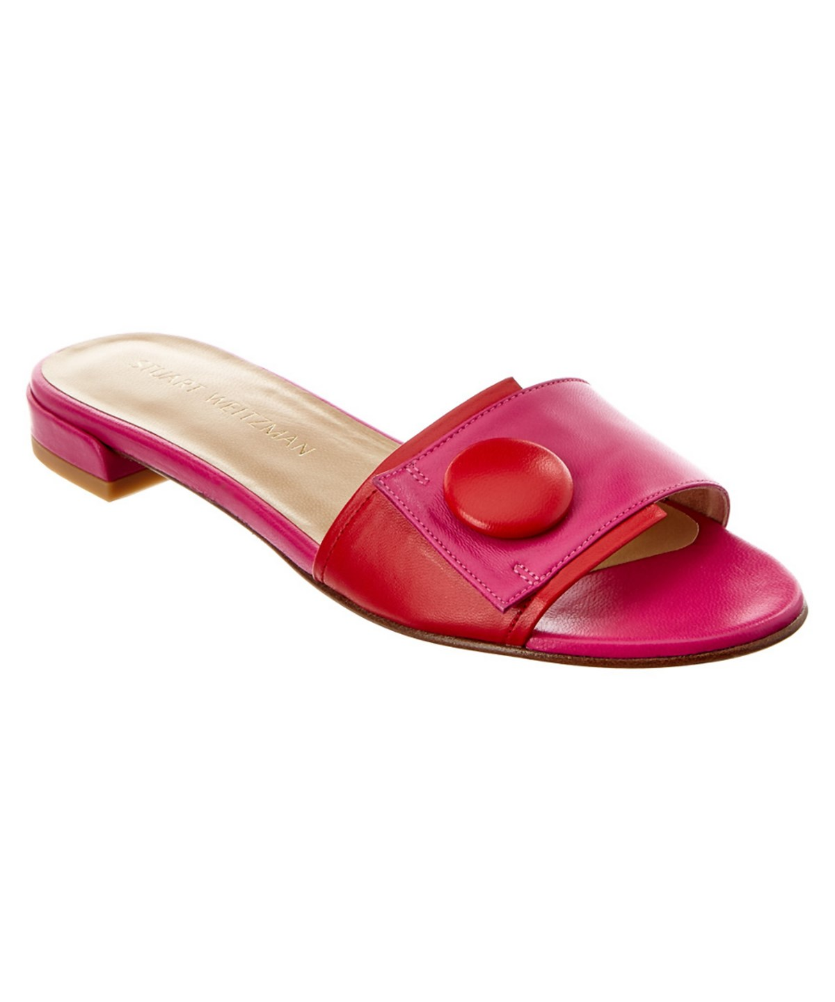 Stuart Weitzman Buttoni Leather Sandal In Pink