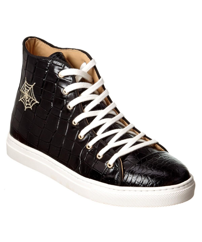 Charlotte Olympia Embossed Leather Hightop Sneaker In Black