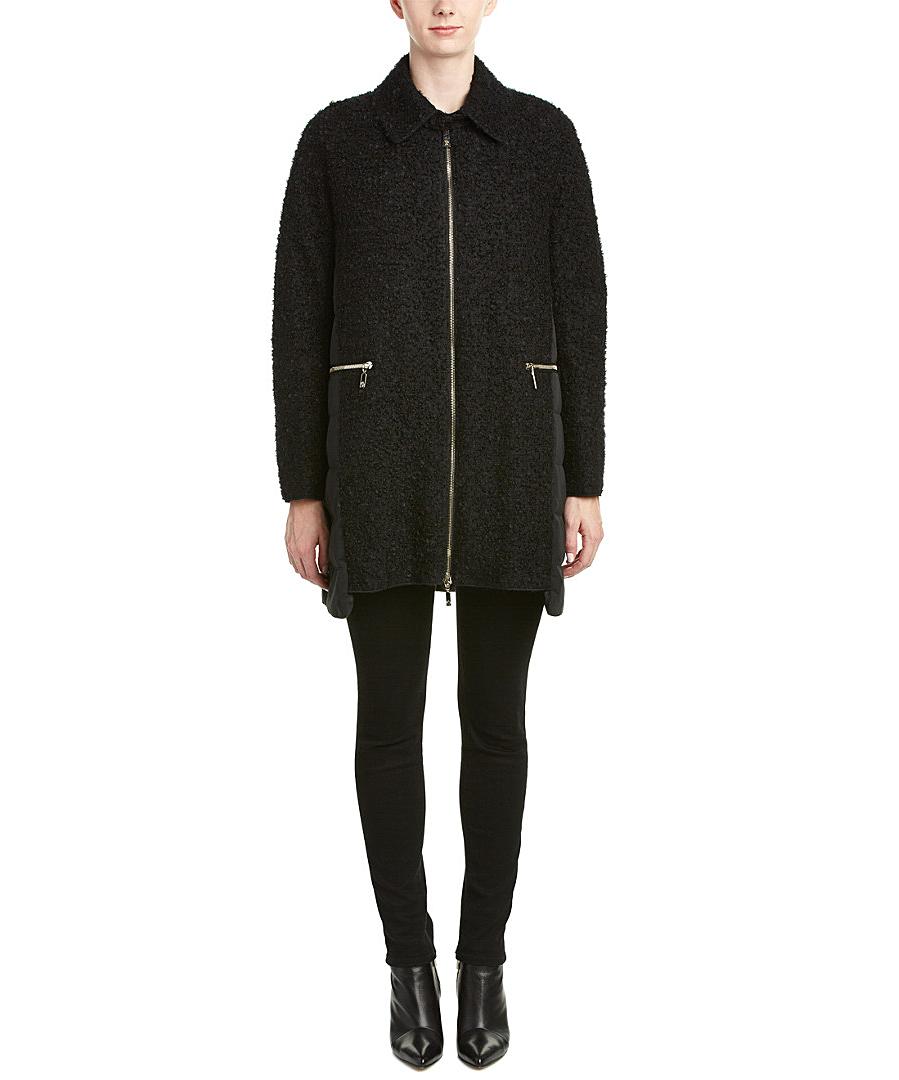 Moncler Cathy Wool-blend Down Coat In Black