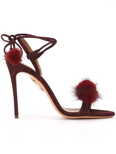Aquazzura Wild Russian Fur And Suede Sandals In Prune