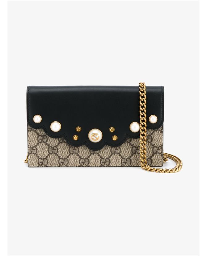 b1739d04729 Gucci Peony Gg Supreme Pearly Mini Wallet-On-Chain, Beige/Ebony/Nero ...