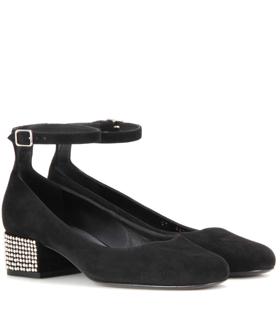 e8f0e238153 Saint Laurent Babies Stud-Heel Suede Ankle-Strap Pumps In Noir ...