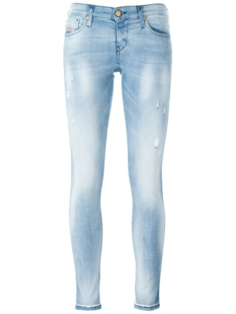 Diesel Skinzee-ne Skinny Mid-rise Stretch-denim Joggjeans In 01 Blue Denim