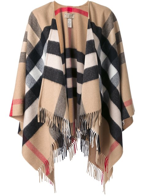 Burberry Check Cashmere And Wool Poncho In Multicolour