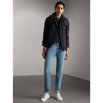 Burberry Quilted Trench Jacket With Detachable Hood In Ink