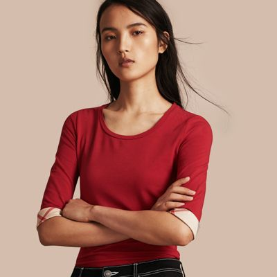 Burberry Check Cuff Stretch-cotton Top In Red