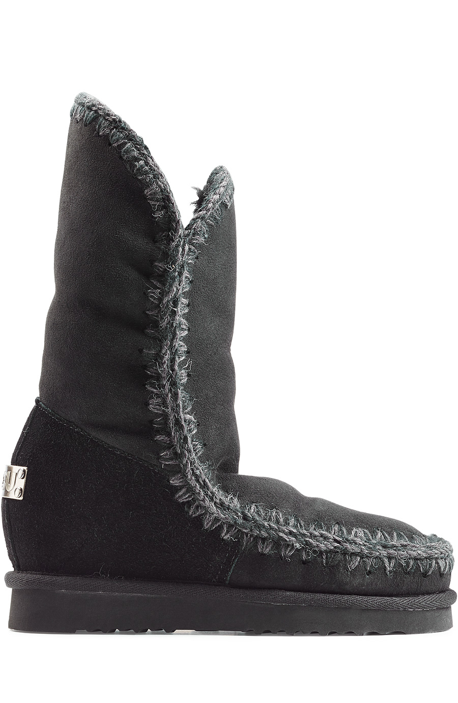 Mou Eskimo Wedge Tall Sheepskin Boots In Black