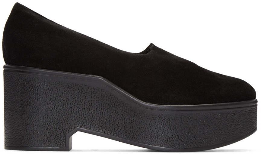 Robert Clergerie 'xalo' Stretch Suede Wedge Platform Slip-ons In Black