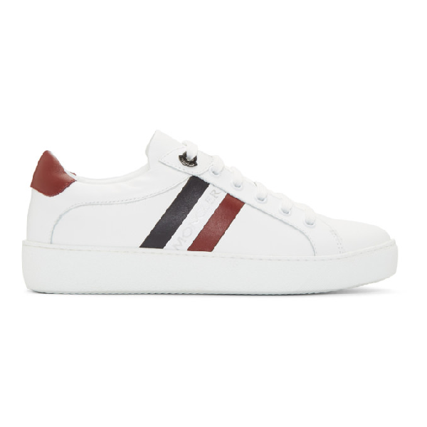 Moncler White Sneakers With Blue And Red Details In 002 Multi