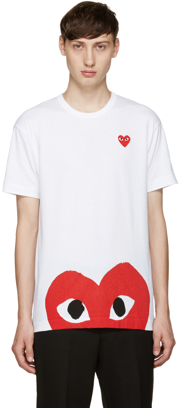 f713626efba6 Comme Des GarÇOns Play Comme Des Garcons Play White And Red Half Heart  T-Shirt