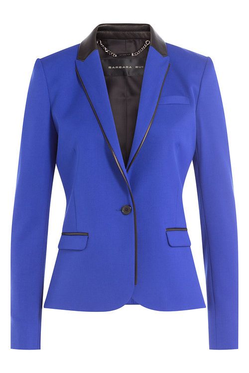 Barbara Bui Wool Blazer With Leather In Blue