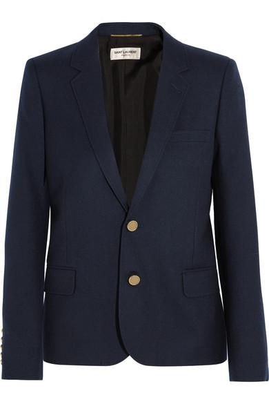 Saint Laurent Wool-gabardine Blazer In Blue