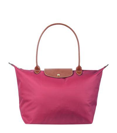 Longchamp Le Pliage Leather-trim Shoulder Bag In Malabar Pink