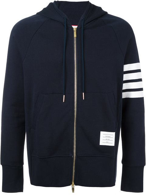 Thom Browne Slim-fit Striped Loopback Cotton-jersey Zip-up Hoodie In Blue