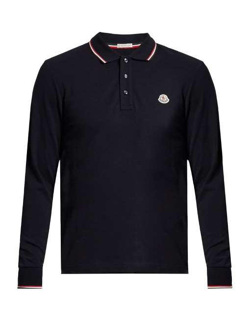 339fa84ba Moncler Long-Sleeved Cotton-PiquÉ Polo Shirt In Blue