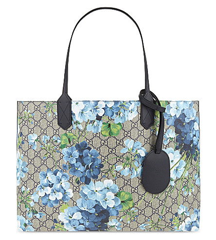 e4bbabdf4fa Gucci Gg Blooms Reversible Coated Canvas Tote In Blue Leather