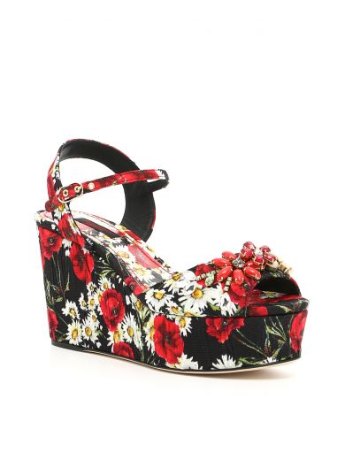 3073635cc25ce Dolce   Gabbana Wedge Sandal In Printed Brocade With Crystals In Black
