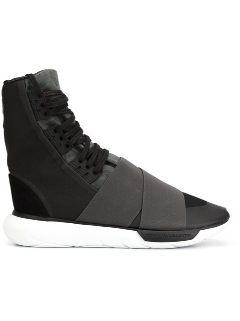 84bdb5fdc Y-3 Qasa Boot Neoprene And Canvas High-Top Trainers In Black Fabric ...