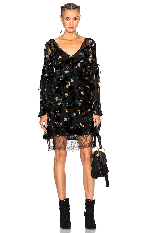 Etro Velvet And Lace-trimmed Printed DevorÉ-chiffon Dress In Black