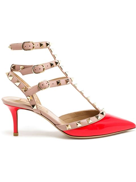 Valentino Rockstud Colorblock Leather Mid-heel Pump, Red/blush In Patent Deep Orange