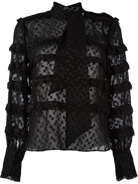 Isabel Marant Lurex Dot Alba Top In Black, Metallics.