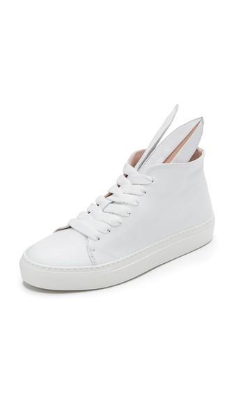 Minna Parikka 20mm Bunny Calfskin High Top Sneakers, White