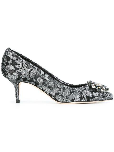 Dolce & Gabbana Pump In Taormina Lurex Lace With Crystals In Metallic