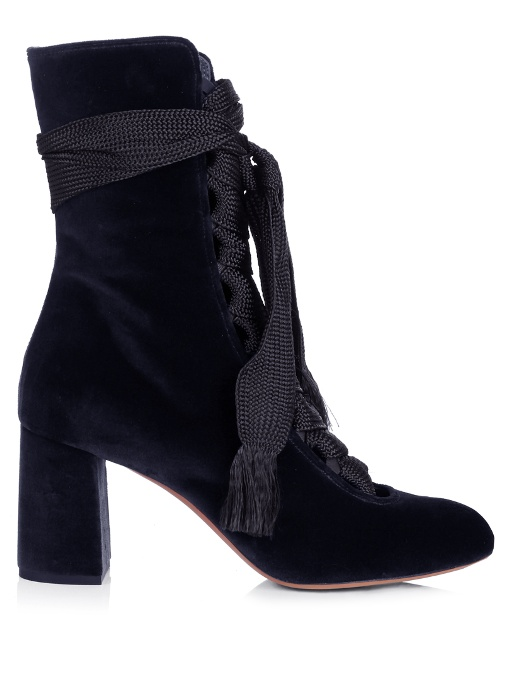 1715089381 ChloÉ Harper Velvet Lace-Up Chunky High-Heel Booties In Navy | ModeSens