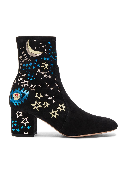 ea861eb26ca Valentino  Astro Couture  Galaxy Foil Print Embroidered Suede Boots In Black