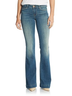J Brand Another Love Story Mid-rise Flare Jeans In Blue