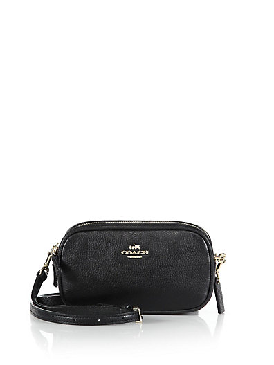 Coach Crossbody Pouch In Polished Pebble Leather In Black