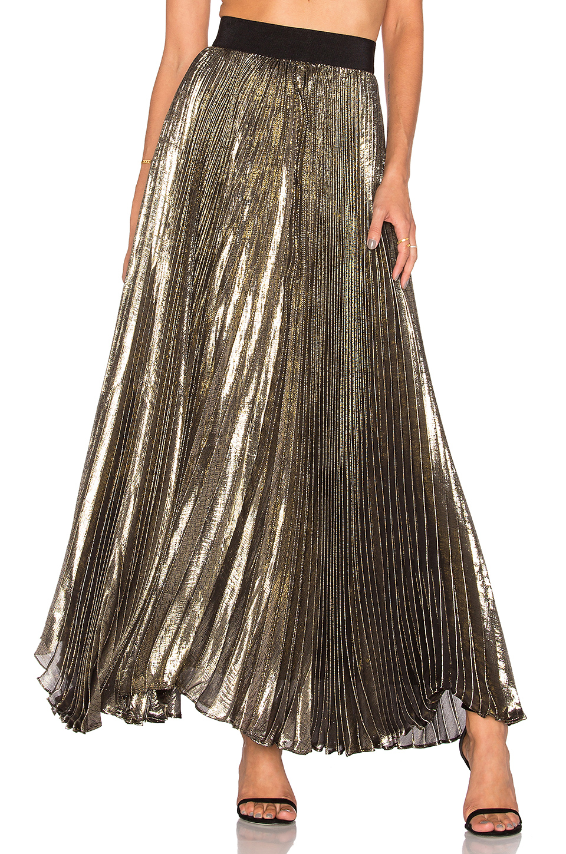 363458efd Alice And Olivia 'Katz' Metallic PlissÉ Pleat Maxi Skirt In Gold & Black