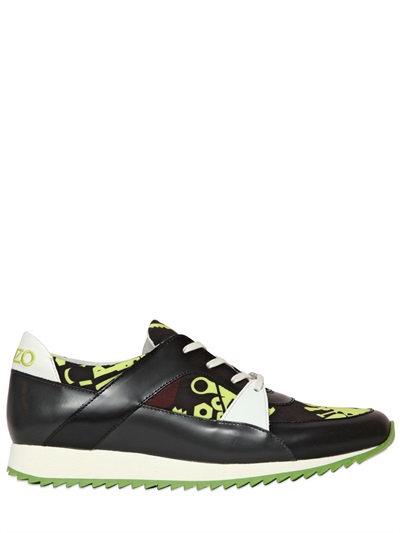 Kenzo 20Mm Monsters Printed Nylon Sneakers, Light Green
