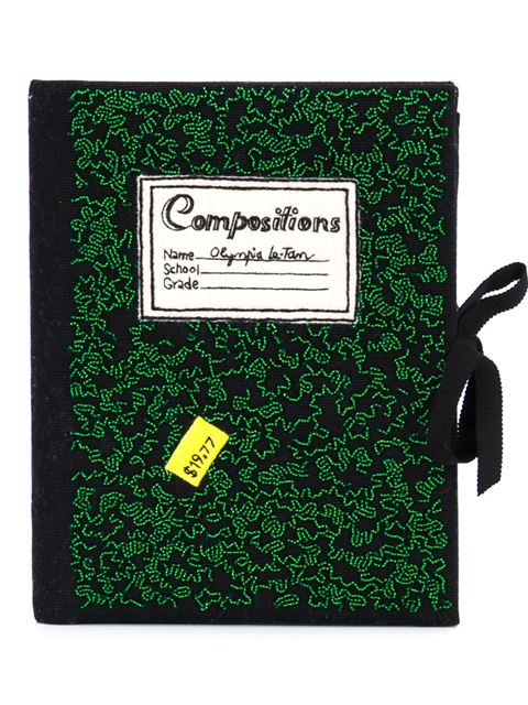 Olympia Le-tan Woman Notebook Felt-appliquÉd Beaded Cotton-faille Clutch Green