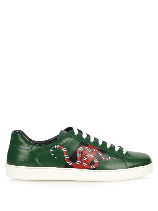 b750301e8529 Gucci New Ace Snake Print Leather Low-Top Sneakers In Green