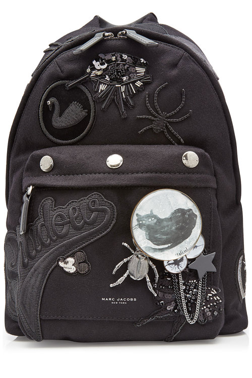 0dc9e9212e Marc Jacobs Wool Backpack With Patches And Embellishment In Black ...