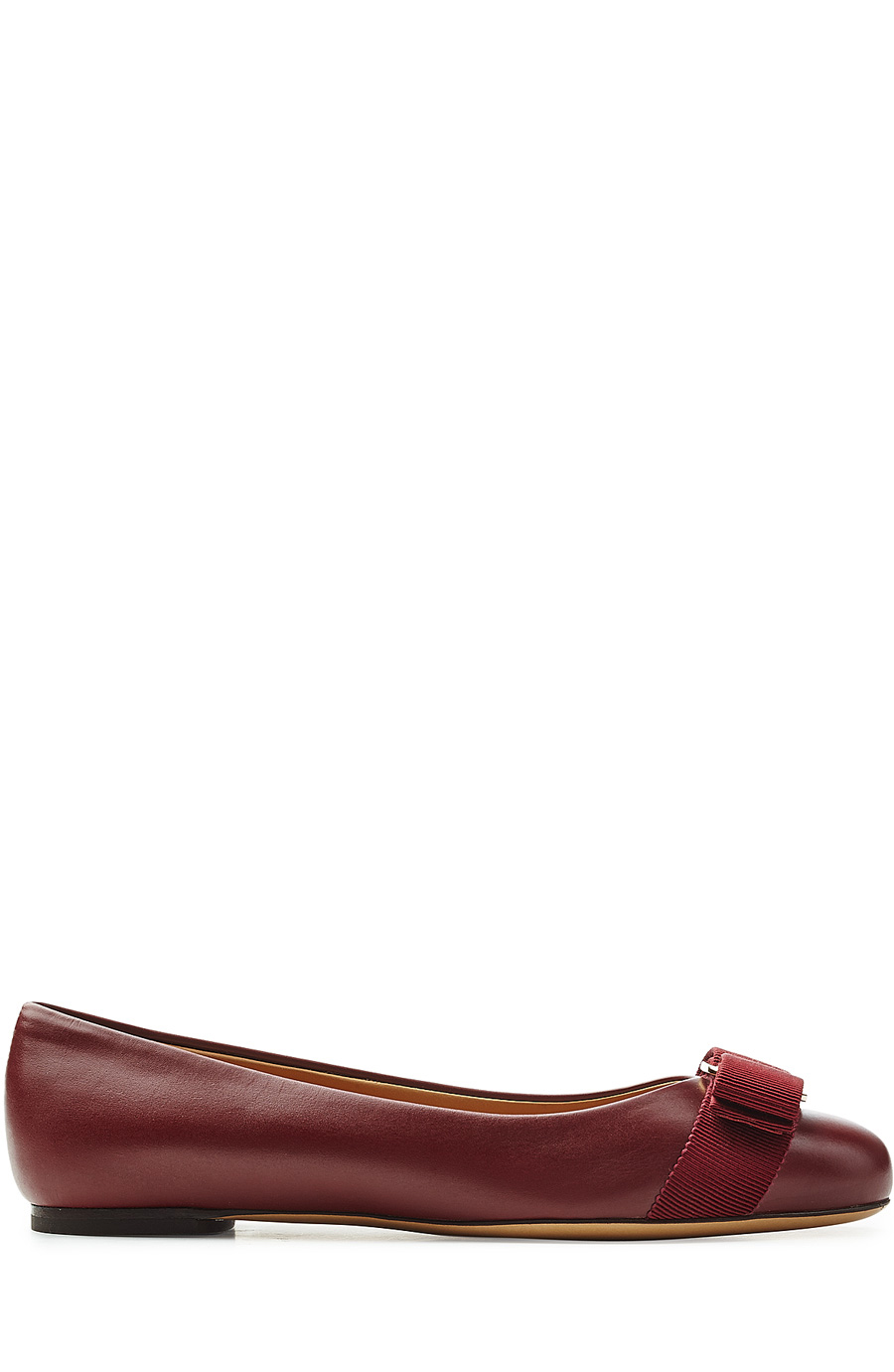 Salvatore Ferragamo Black Leather 'mimi' Bow Detail Ballerina Flats