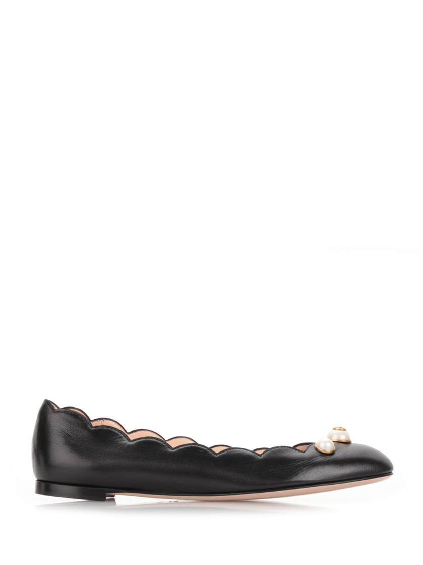 c5c7cd580 Gucci Black Leather Pearl Embellished Ballet Flats' | ModeSens