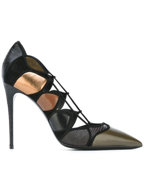 Salvatore Ferragamo Leather Pumps With Cut-out Detail In Black