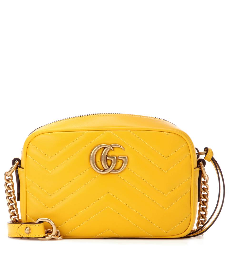 534988287 Gucci Gg Marmont Mini MatelassÉ Leather Crossbody Bag In Yellow Leather