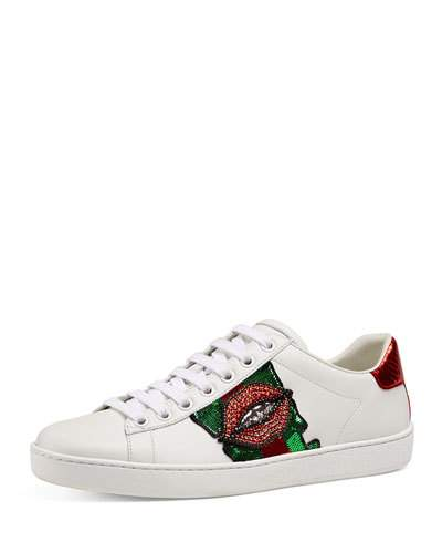 abf80f363 Gucci Ace Lip-Embroidered Leather Low-Top Sneakers In White | ModeSens