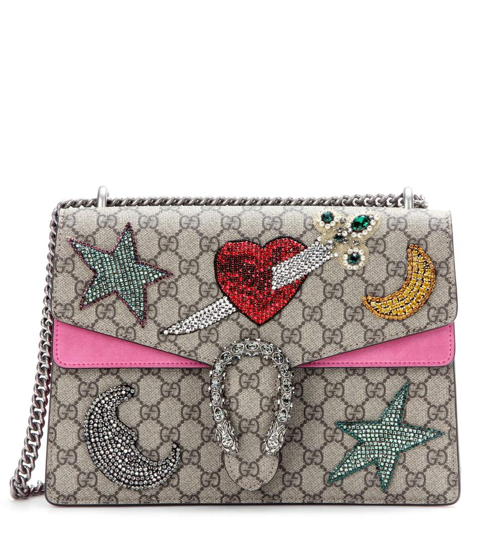 2a6dcd8f0628 Gucci Dionysus Embroidered Gg Supreme Canvas Shoulder Bag, Beige/Ebony/Pink  In Neutrals