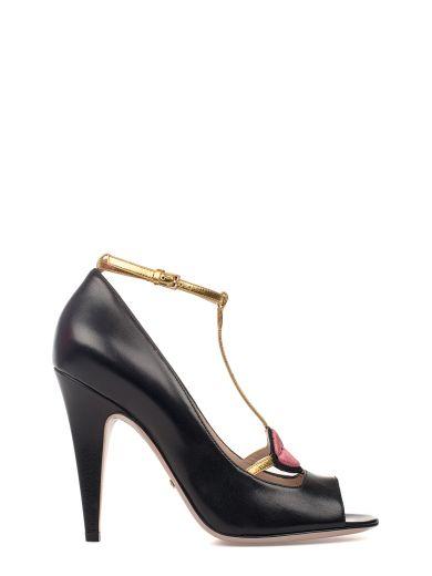 b992759578fa Gucci Molina Lips-Embroidered Leather Sandals In Black